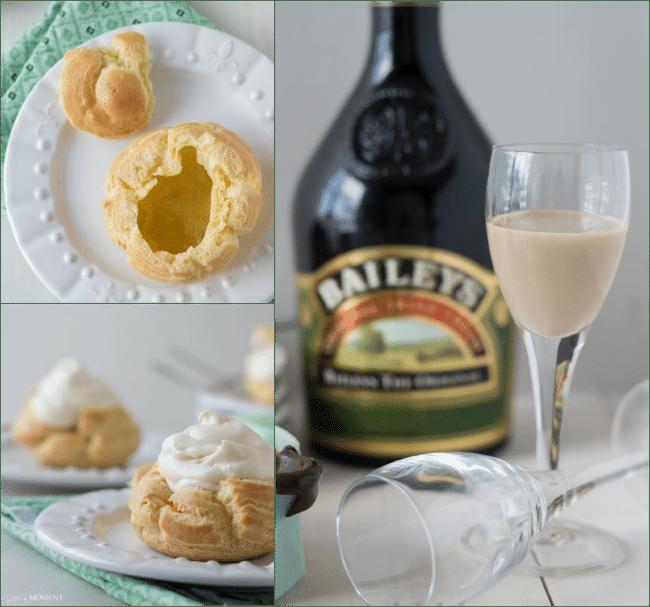 #KissMeImIrish Irish Cream Profiteroles   Baking a Moment
