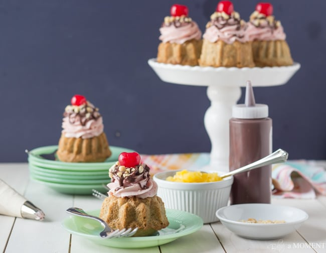 Banana Split Mini Bundt Cakes | Baking a Moment