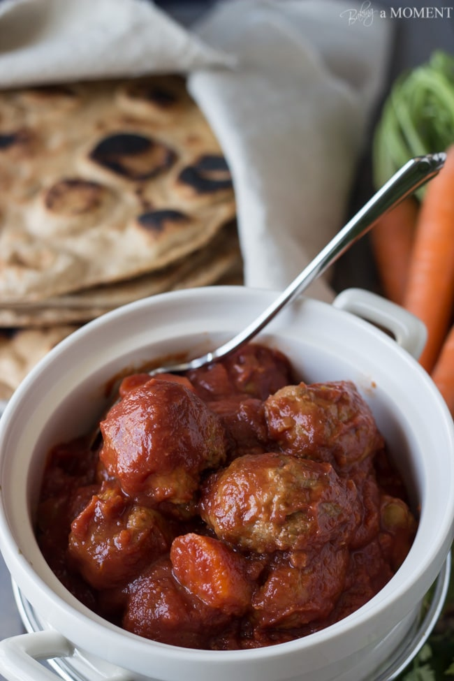Slow Cooker Morroccan Turkey Meatballs | Baking a Moment