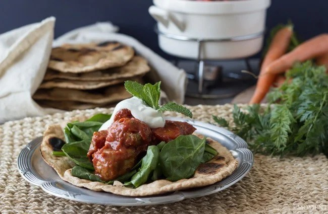 Slow Cooker Moroccan Turkey Meatballs with Homemade Whole Wheat Naan | Baking a Moment