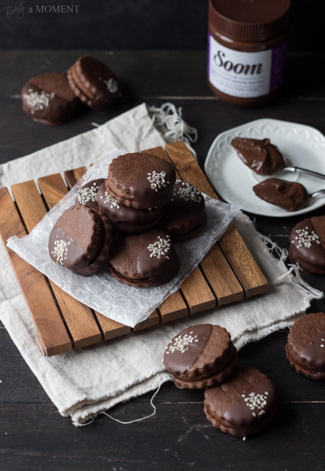 Chocolate Sesame Butter Sandwich Cookies | Baking a Moment