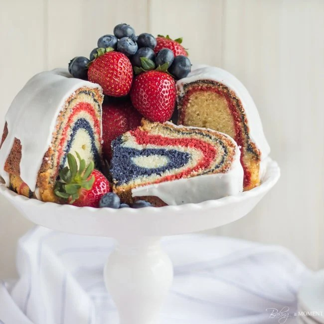 Red, White, & Blue Zebra Bundt Cake | Baking a Moment