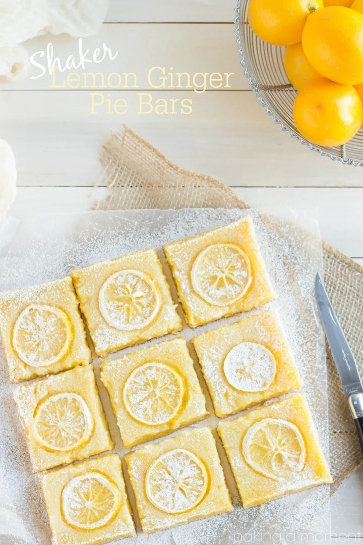 Not your everyday lemon bar!  This recipe uses the whole lemon for tons of intense flavor, plus 3 kinds of ginger!  These Shaker Lemon Ginger Pie Bars are the antidote to winter ;)