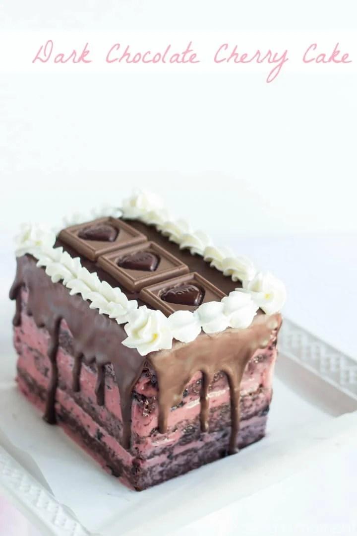Layers of moist dark chocolate cake, with a silky dark cherry buttercream- so pretty for Valentine's Day!