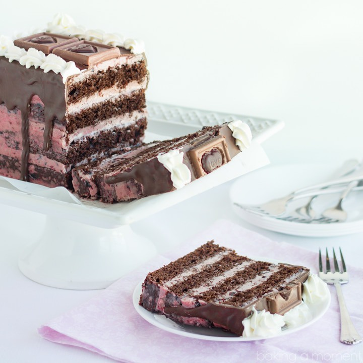 Layers of moist dark chocolate cake, with a silky dark cherry buttercream- so pretty for Valentine's Day!