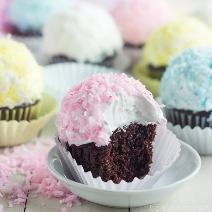 So fun for Spring! Loved the pretty pastel on these coconut snowball cupcakes. The marshmallow frosting was perfection and this is THE BEST chocolate cupcake recipe EVER!