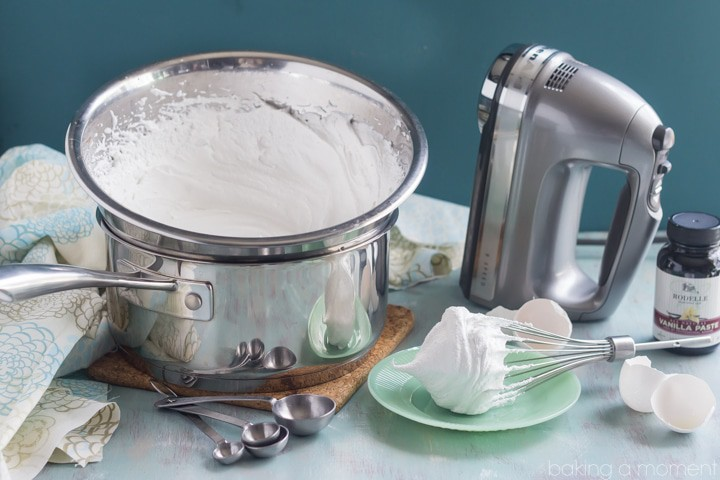 One of my favorite things ever! Seven-Minute Frosting: so fluffy, almost like marshmallow.  Sooo good on chocolate cake!