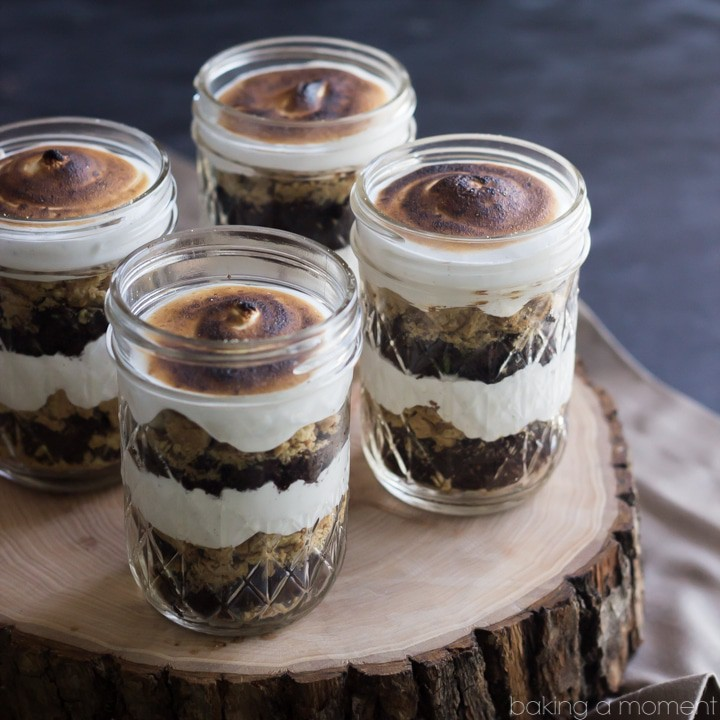 Perfect for a barbecue or potluck!  These S'mores Cupcake Jars transport easily and they are TO DIE FOR!  Soft and sweet, with just the right amount of crunch.  They'll be the hit of the party!