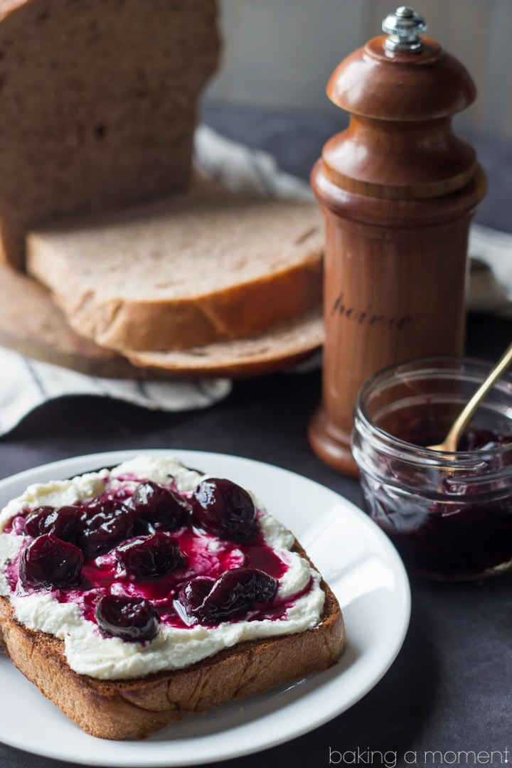 Homemade Red Grapeseed Wheat Bread with Ricotta, Cherries, and Black Pepper | Baking a Moment  #sponsored #whitelily