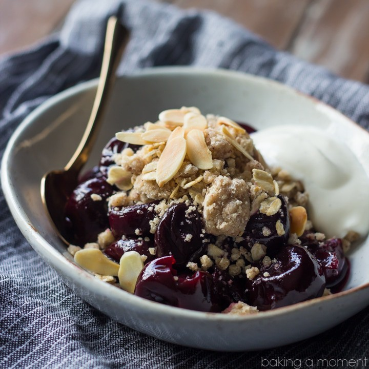 This No-Bake Cherry Crumble is loaded with sweet summer cherries  and topped with a buttery, spiced crumb topping.  With a dollop of Greek yogurt, I think it can even qualify as breakfast food!