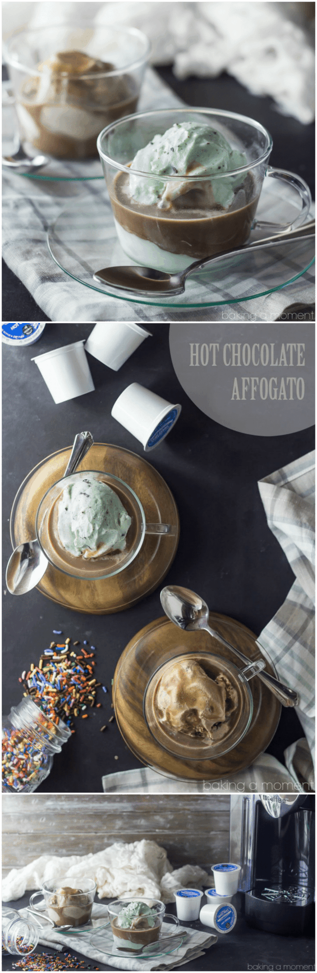 Hot Chocolate Affogato- cool, creamy ice cream, drowned in rich hot chocolate!  So easy and such a treat #ad