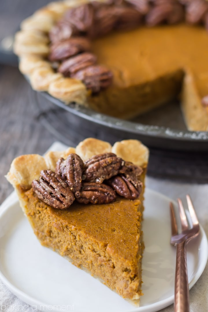 Pumpkin pie with candied pecan topping baking a moment for Pumpkin pie with a twist