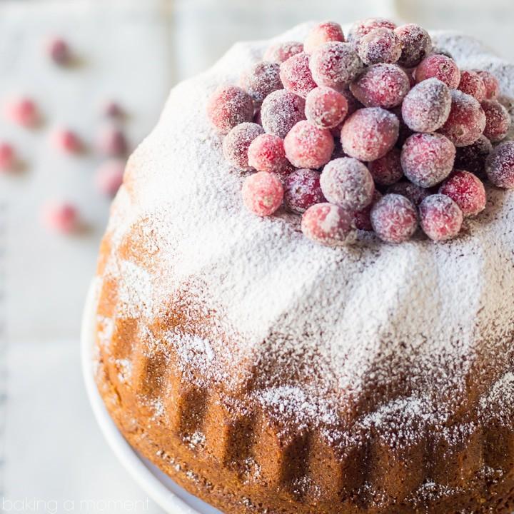 Orange Spice Cream Cheese Pound Cake with Sugared Cranberries