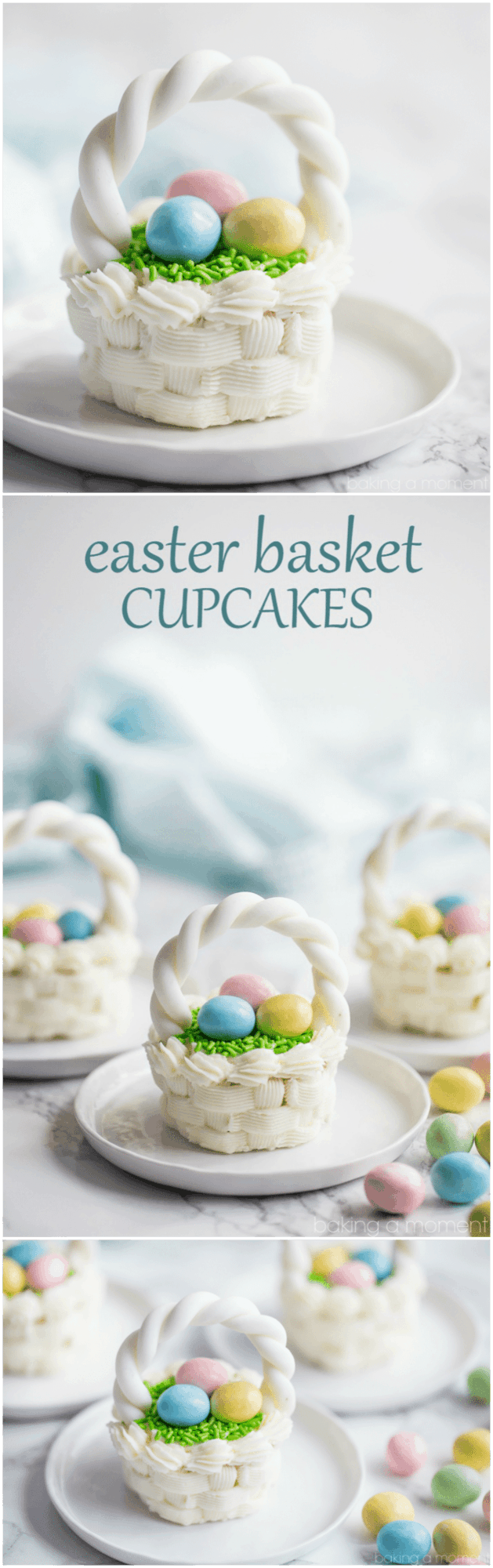 Easter Basket Cupcakes-- So cute and surprisingly simple to make. What a fun spring project to do with kids or grandkids!