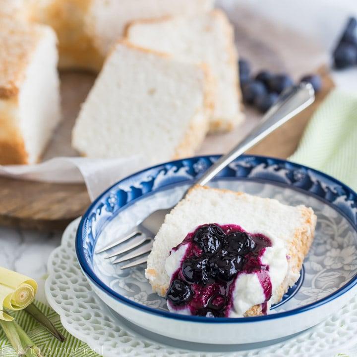 Classic Angel Food Cake with Blueberry Lemongrass Sauce