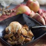 Apple Walnut Bread Pudding with Cinnamon Cider Sauce