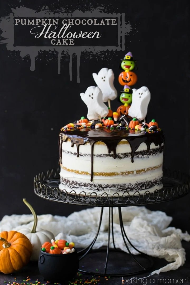 Pumpkin Chocolate Halloween Cake - Baking A Moment