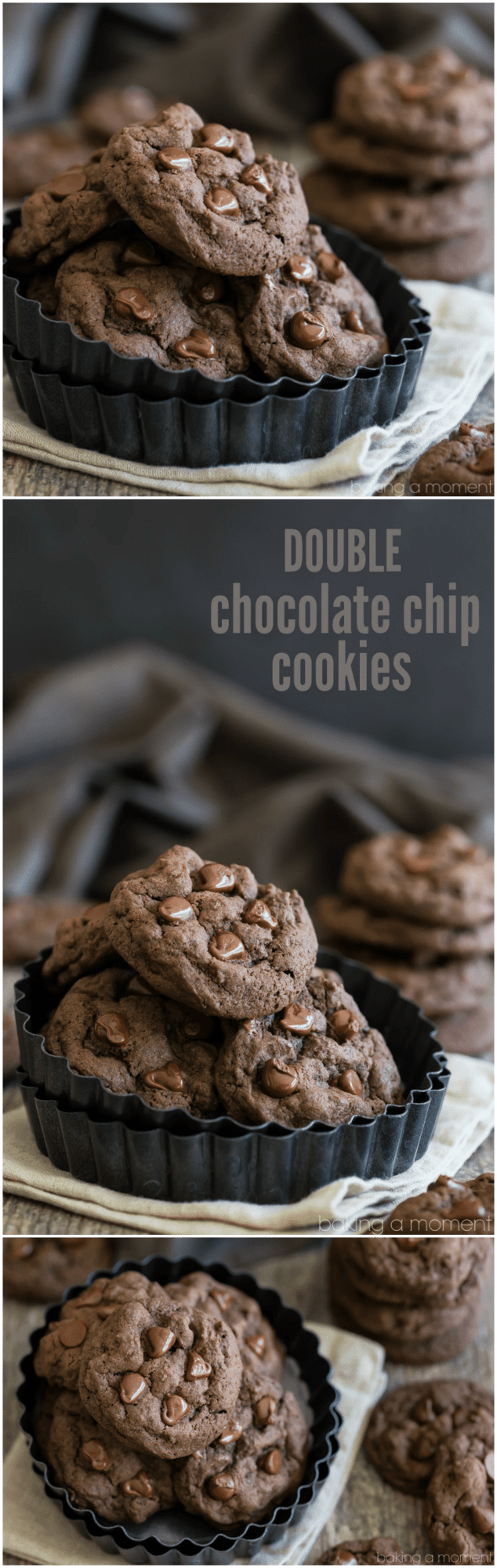 Soft Double Chocolate Chip Cookies- soft and gooey and SO chocolate-y! These will satisfy your craving for sure :)