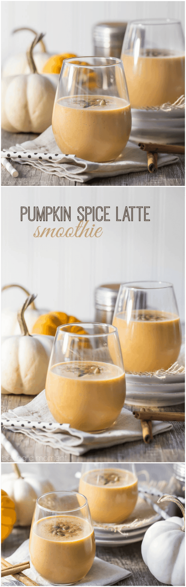 Pumpkin Spice Latte Smoothie- if you like PSL's then you'll LOVE this smoothie! Made with real pumpkin + an espresso kick that'll really jump start your morning! food drinks smoothies