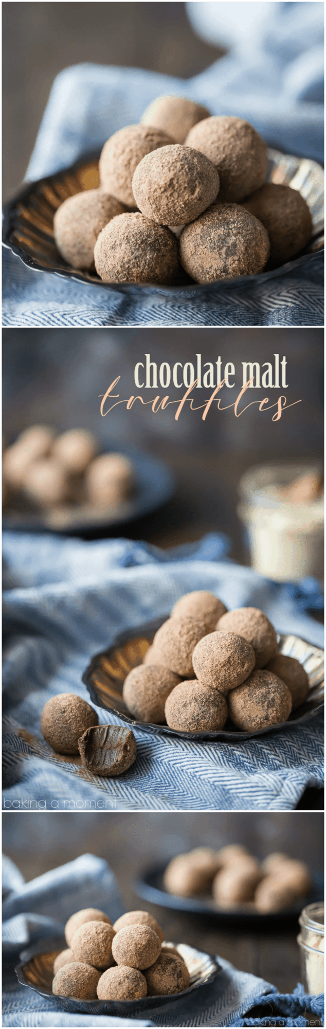 These chocolate malt truffles were so easy to make! Just a few simple ingredients and the chocolate malt flavor was so rich and smooth. I'll be giving these as gifts this Christmas! #savorysimplecookbook food desserts chocolate