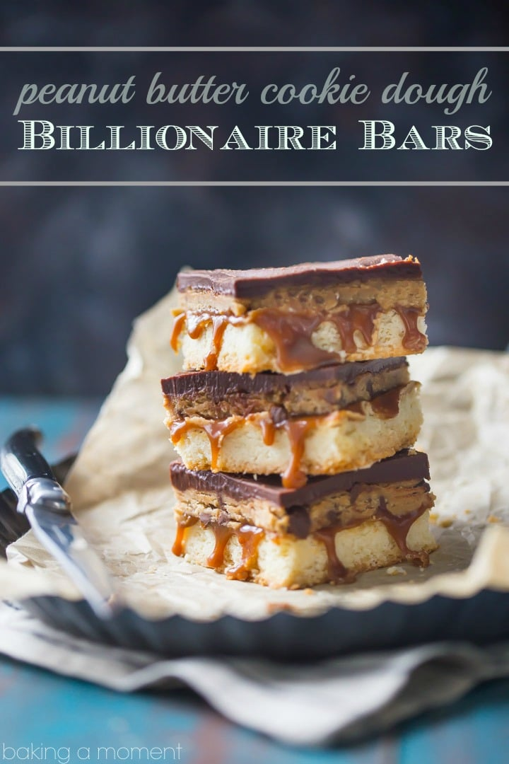 Peanut Butter Cookie Dough Billionaire Bars: OMG! These are so sinful- buttery shortbread with gooey caramel, edible peanut butter chocolate chip cookie dough, and a thick layer of chocolate ganache. Swoon! food desserts bars