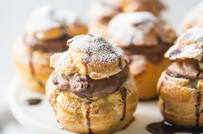 Mocha Cream Puffs- wow, what a treat! The pate a choux came out perfectly puffed and golden, and that fluffy filling had so much chocolate and coffee flavor! food desserts chocolate