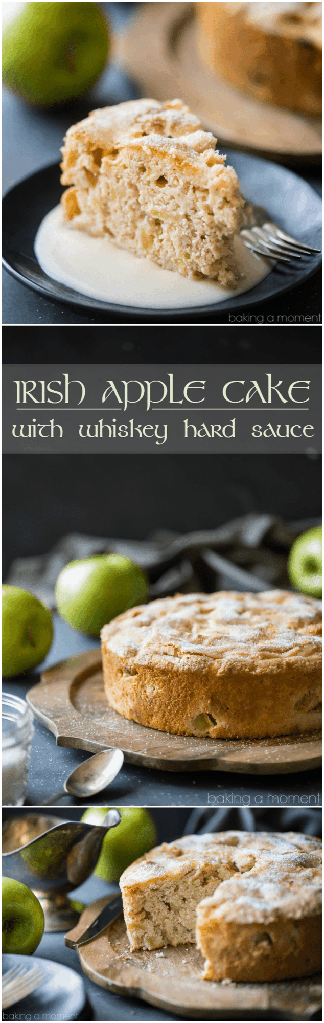I made this Irish Apple Cake for St. Patrick's Day, but honestly it was so good I'd eat it any time of year! There was just a hint of cinnamon, allowing the tart apple flavor to really shine. The whiskey hard sauce was the perfect creamy compliment! 
