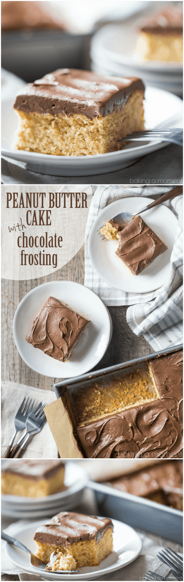 Peanut Butter Cake with Chocolate Frosting - Baking A Moment