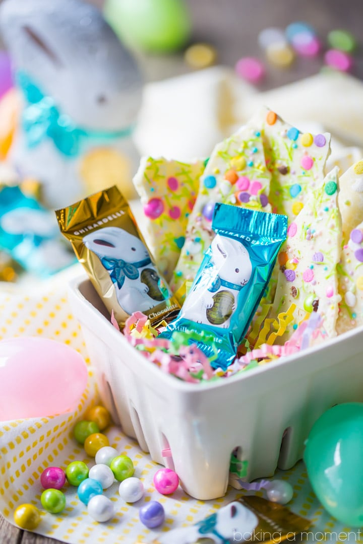 White Chocolate Funfetti Bark: this was so simple to make and came out so pretty!  Perfect as a homemade Easter or Passover gift.  food desserts chocolate  #Ghirardelli #ad