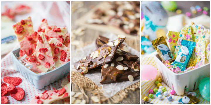 Chocolate Bark 3 Ways:  strawberries & cream, dark chocolate almond with caramel & sea salt, or funfetti.  So easy to make and makes a great homemade gift!  food desserts chocolate  #Ghirardelli #ad