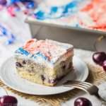 Cherry Vanilla Cake with Red, White, & Blue Swirl Frosting