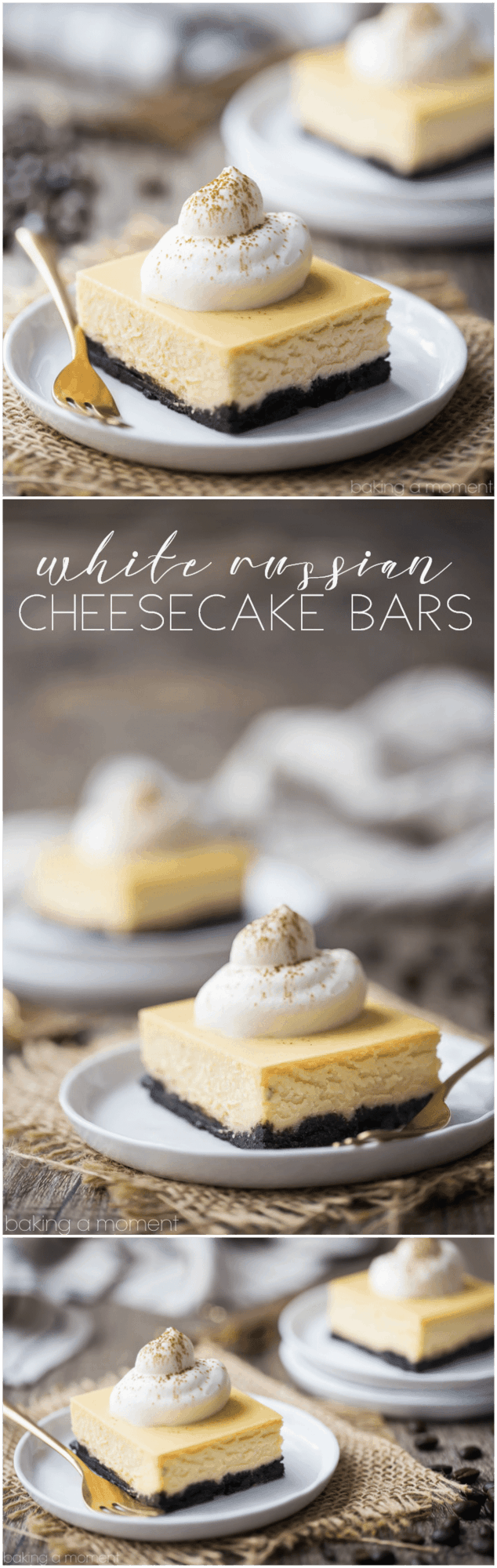 White Russian Cheesecake Bars: these tasted just like the cocktail! Cold & creamy, with a hint of rich coffee and a boozy kick. food desserts cheesecake