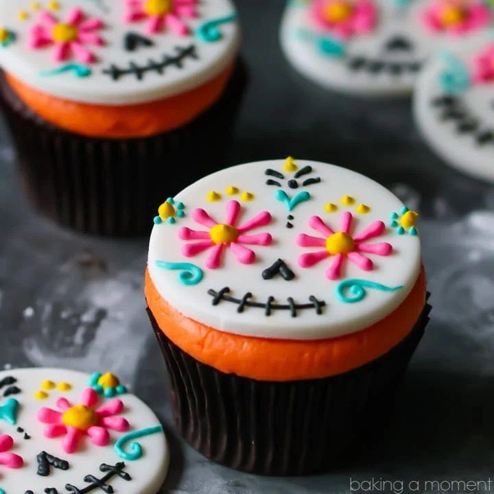 Day of the Dead Cupcakes so colorful fun for Halloween Baking a