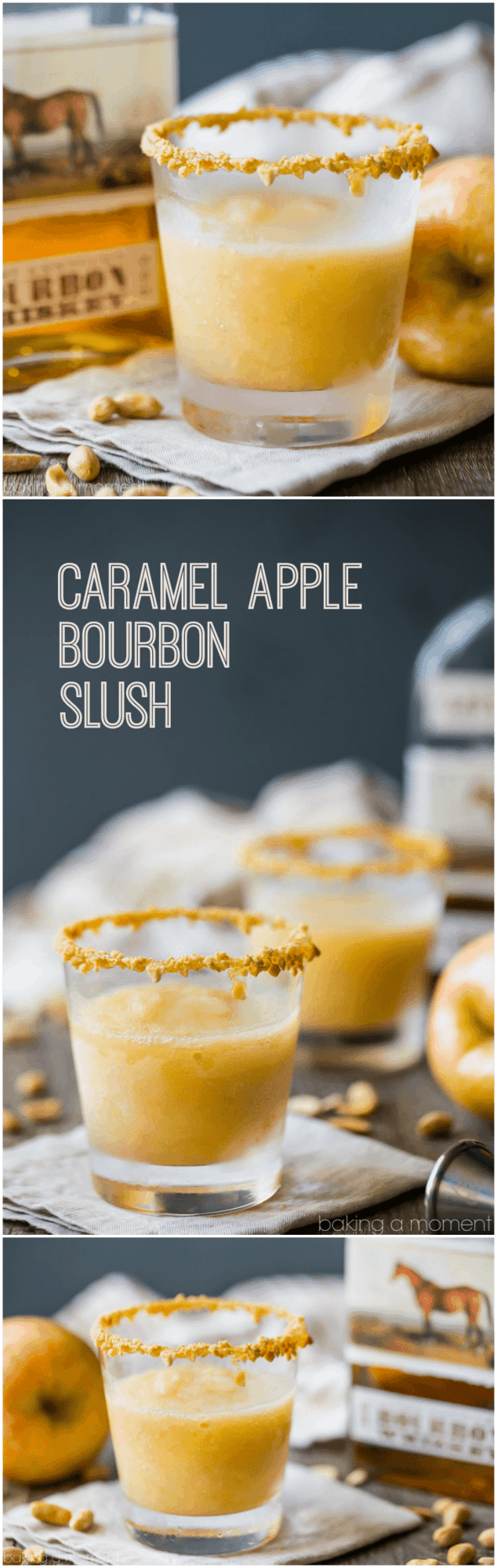 Caramel Apple Bourbon Slush: made with real apples and apple cider, buttery caramel, and toasty bourbon. A perfect fall sipper! #drinks #cocktails #fall