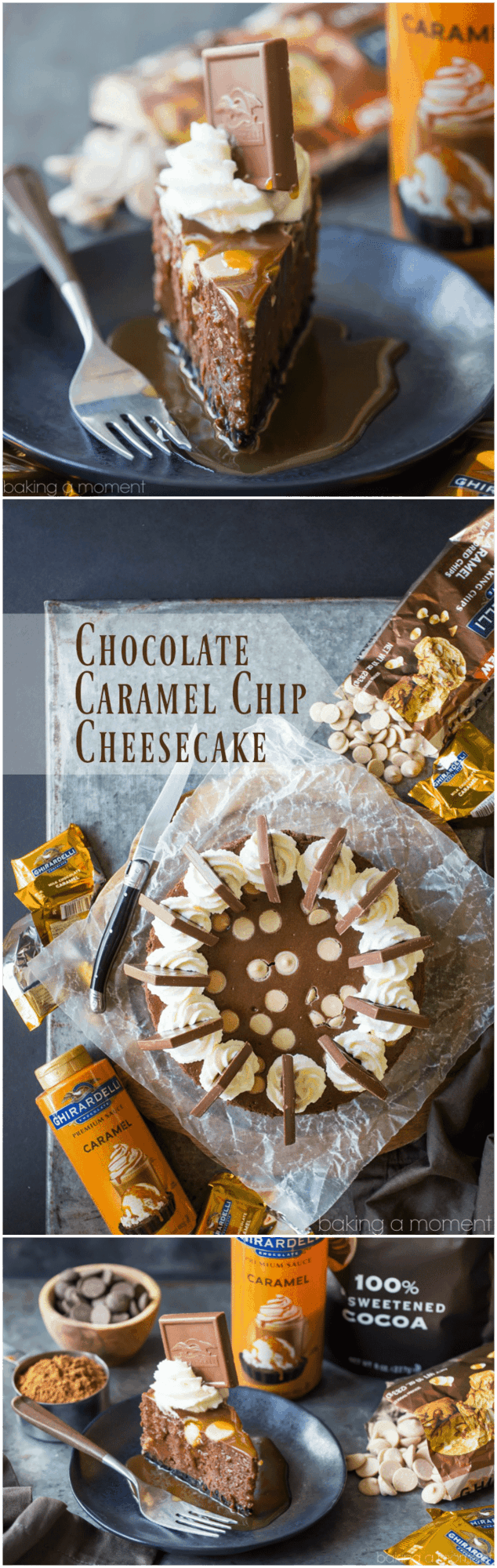 Chocolate Caramel Chip Cheesecake: Omg this was to-die-for! So rich and chocolate-y. Will definitely make again- it's a perfect make-ahead dessert. food desserts chocolate