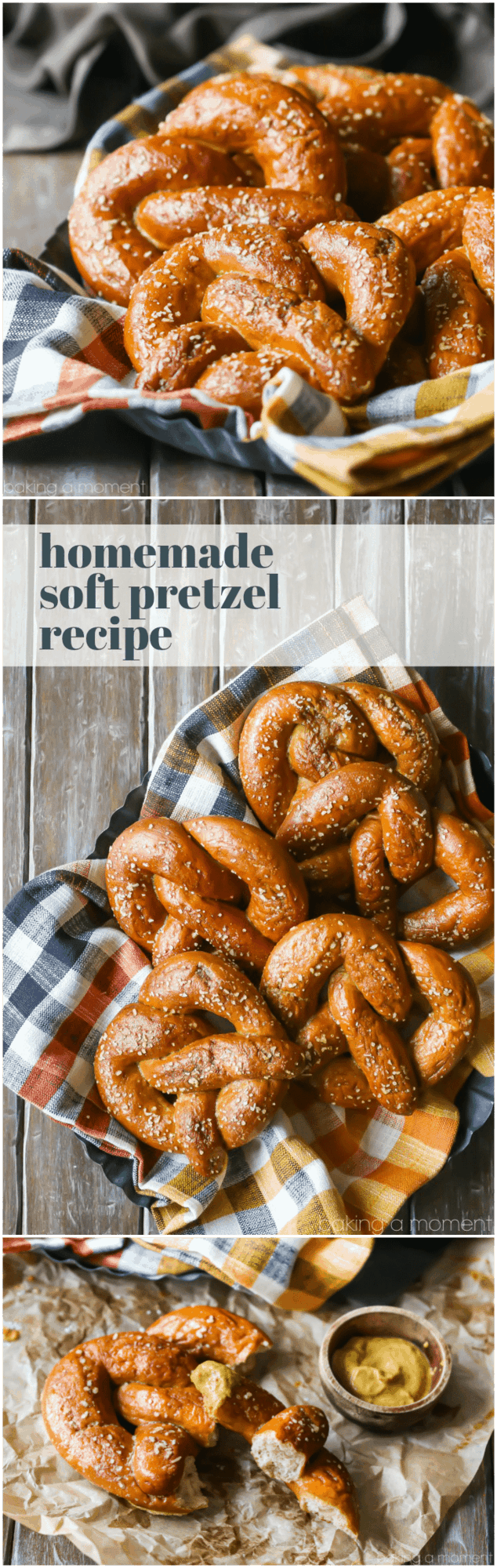 Homemade Soft Pretzel Recipe: I followed the steps and they came out perfectly! Hot, soft, and chewy, with a great yeasty flavor. Perfect with a sprinkling of crunchy salt and a dip in grainy mustard! #food #recipes #breads