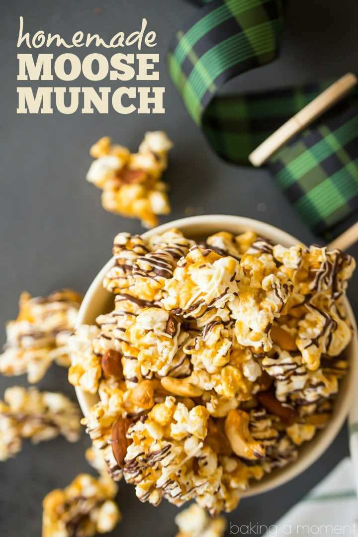 Homemade Moose Munch: Light, crisp butter toffee caramel popcorn with almonds and cashews, drizzled with white and dark chocolate.  Makes a great holiday gift!  #food #desserts #popcorn #caramel #homemade #holiday #gift #recipe
