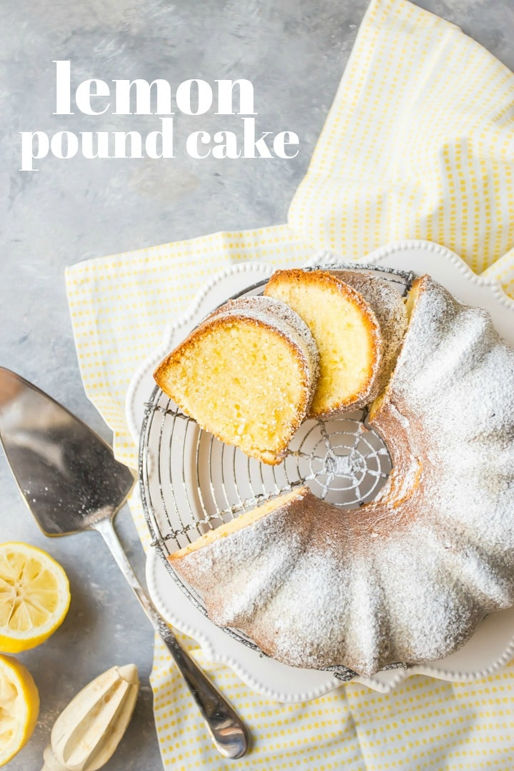 Overhead view of sliced lemon pound bundt cake, dusted with powdered sugar, on a cooling rack with a yellow napkin.  Cake server, fresh lemons, and lemon juicer are off to one side, and there is a text overlay.