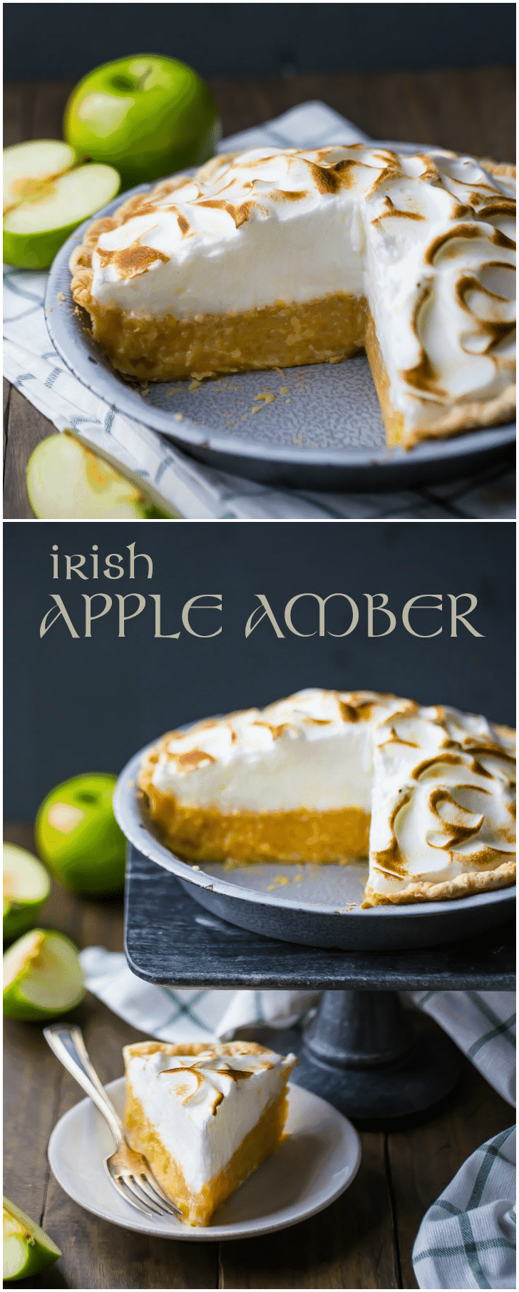 Celebrate St. Patrick's Day with this authentic Irish Apple Amber!  It's a traditional dessert in Ireland, made with shredded apples cradled in a buttery crust and topped with airy meringue. #irish #apple #desserts #pie #meringue #stpatricksday #ideas #stpattys