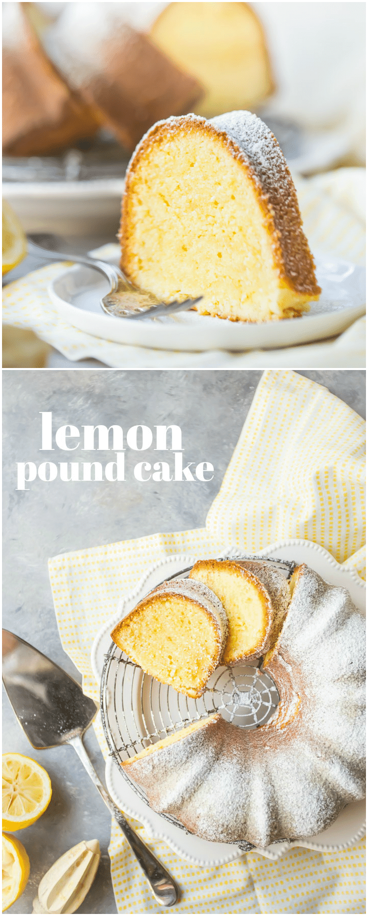 This was the most flavorful lemon pound cake recipe I've ever tried! So much tangy citrus flavor, and so moist and velvety! Loved that it was made with all butter, and only had a few simple ingredients. #lemon #poundcake #bundt #moist #fromscratch #homemade #simple #oldfashioned #southern #best