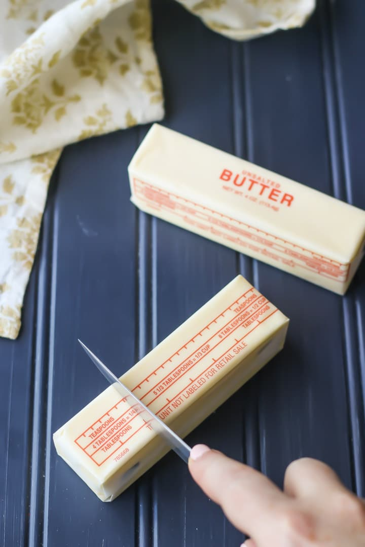 How to measure butter for baking.