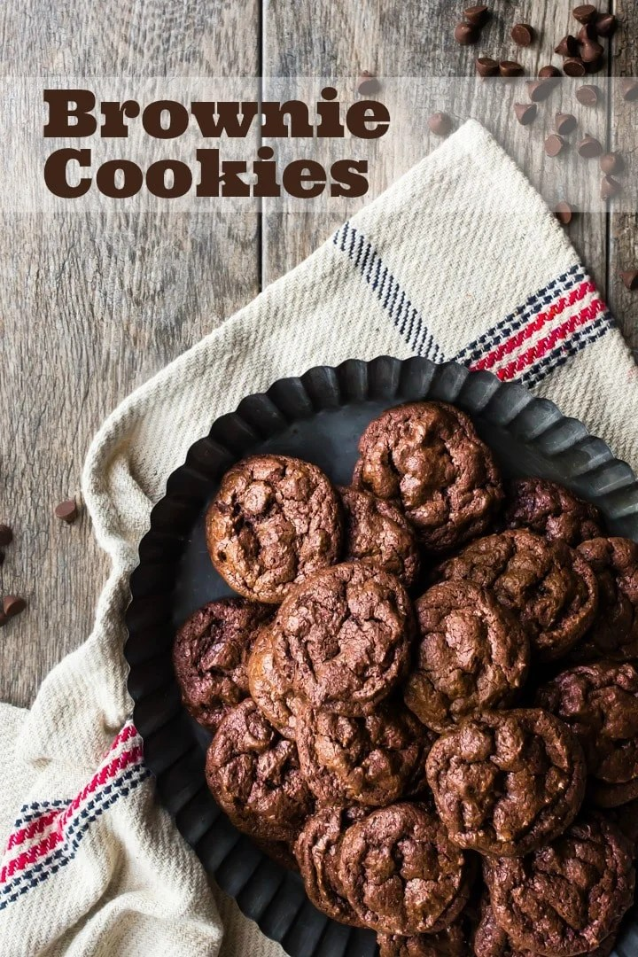 Homemade chocolate brownie cookie recipe with chocolate chips