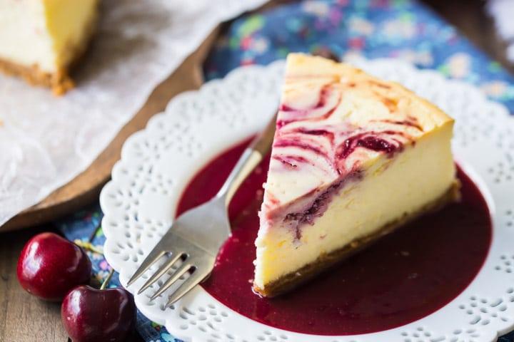Cherry Swirl Cheesecake with Cherry Sauce