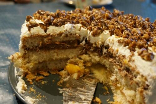 Mango- och nutellatårta