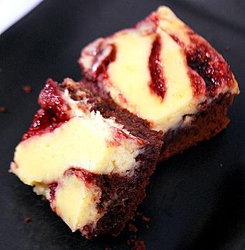 Raspberry Cheesecake Brownies, aerial