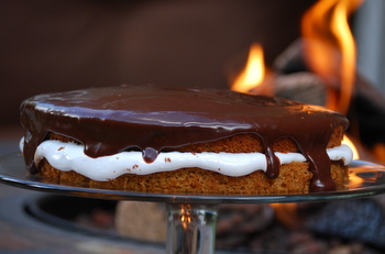 S'mores Cake, closeup