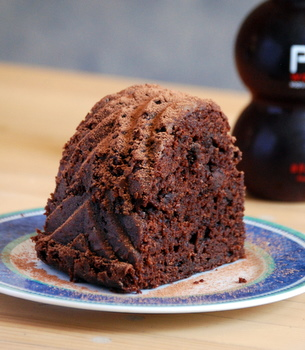 Chocolate Pomegranate Bundt Cake, up close