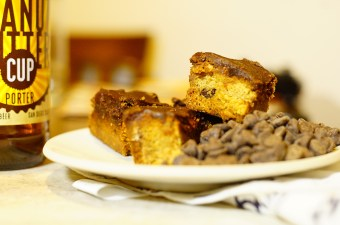 Peanut Butter Cookie Bars with Chocolate Porter Ganache
