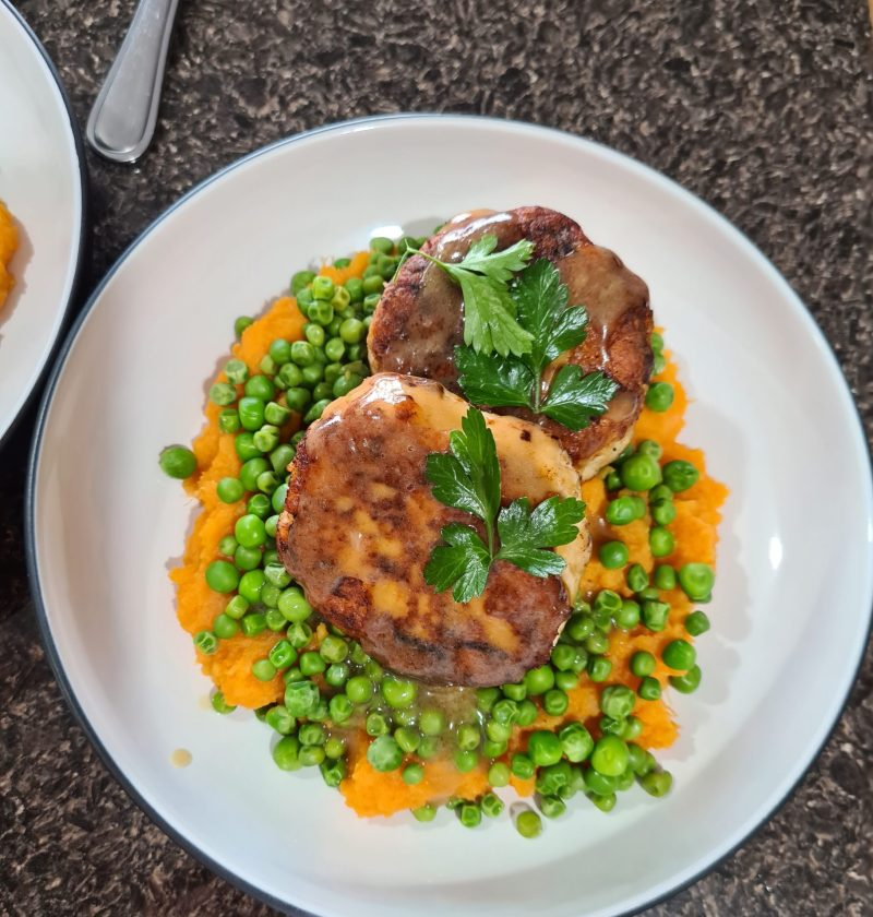 chicken rissoles with sweet potato & peas