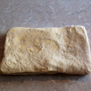 Dough folded: ready for a final roll